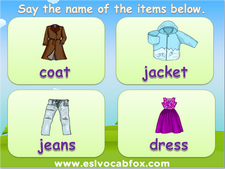 Clothing and Accessories, ESL, English Language vocabulary on clothes