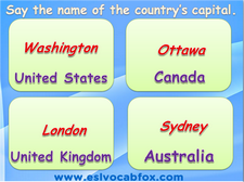 Country capitals, ESL PPTs, Teach Kids New Works and Country names.
