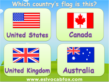 Flags of Countries, ESL PPT on Names and Flags of Countries