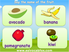 Fruits and Vegetables, ESL PPT, apple, avocado, banana, kiwi, pear, peach, PowerPoint Lesson.