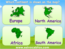 Maps of Continents and Countries, ESL PowerPoint lesson on teaching children maps and names of places in the world.