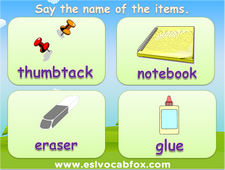 School items and accessories PPT lesson, English language words, eraser, notebook, textbook, school bus, teacher etc.