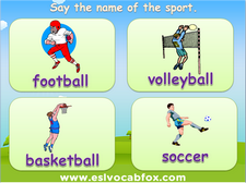 Names of Sports PowerPoint lessons, ESL / English Language PPT, football, volley ball, basketball, soccer, swimming etc.