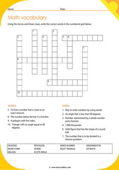 Math Vocabulary Worksheets