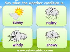 Seasons and Weather ESL PowerPoint, English Language vocabulary, rainy, sunny, windy, snow, storm etc.