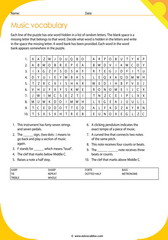 music vocabulary puzzle 3