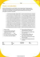 music vocabulary puzzle 4