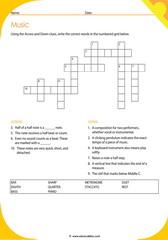 Music Vocabulary Crosswords 1